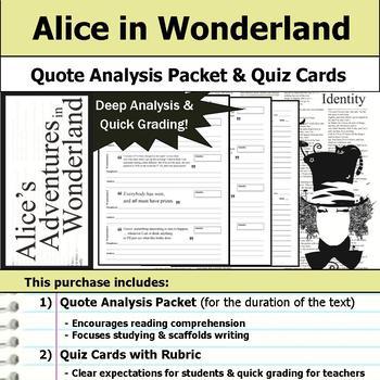 Alice's Adventures in Wonderland - Quote Analysis & Reading Quizzes