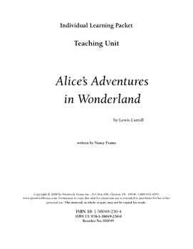 Alice's Adventures in Wonderland Teaching Unit