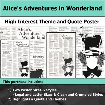 Alice's Adventures in Wonderland - Theme & Quote Poster for Bulletin Boards
