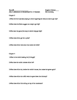 Alice's Adventures in Wonderland Ch. 3&4  Quiz/Reading Check for HS Students