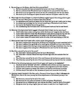 Alice's Adventures in Wonderland Chapters 10-12 14-Question Multiple Choice Quiz