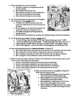 Alice's Adventures in Wonderland Chapters 7-9 12-Question Multiple Choice Quiz