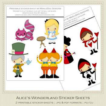 Alice's Wonderland Printable Graphic Sheets