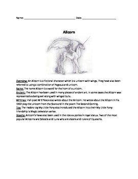Alicorn - Review Article - Questions - Mythical creature - activities