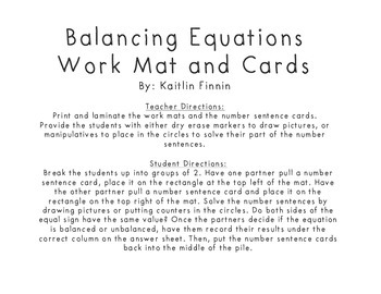 Balancing Equations workmat and activity