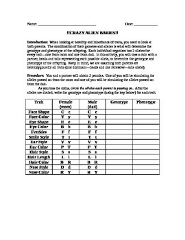 Alien Baby Genetics Activity