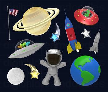 Alien Clip Art - UFO Spaceship Digital Graphics