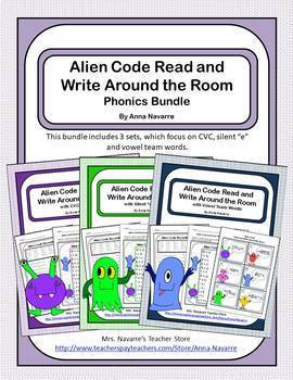 Alien Code Read and Write Around the Room Phonics Bundle