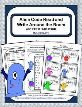 Alien Code Read and Write Around the Room Phonics Bundle