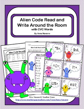 Alien Code Read and Write Around the Room with CVC Words