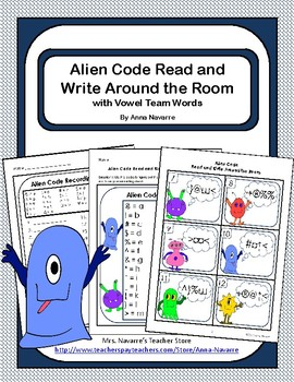 Alien Code Read and Write Around the Room with Vowel Team Words