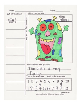 Alien Color and Cut Independent Seatwork with Sentence Building