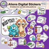 Alien Digital Stickers for Distance Learning