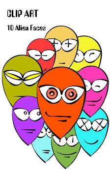 Alien Faces 10 x CLIP ART