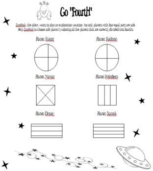 Alien Fraction Practice (Fourths)