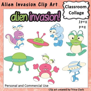 Alien Invasion Clip Art - Color - personal & commercial use T. Clark