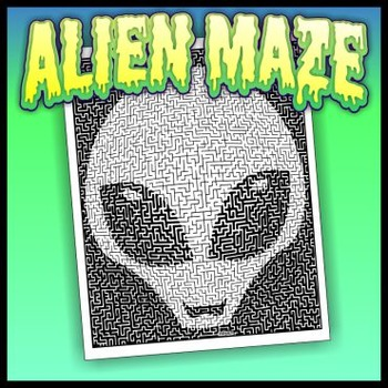 Alien Pictorial Maze - Intricate, full-page maze activity