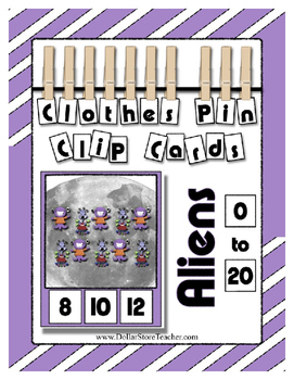 Alien / Monster Counting to 20 Clothes Pin Clip Cards