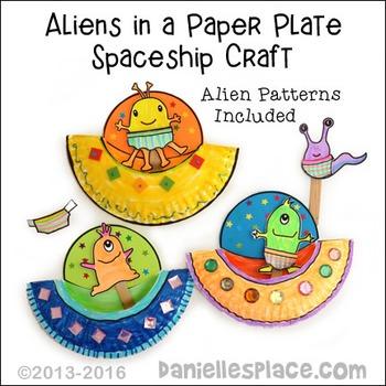 Alien Paper Plate Spaceship and Alien Stick Puppet Craftivity