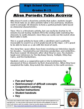 Alien periodic teaching resources teachers pay teachers alien periodic table organizing what you know urtaz Gallery