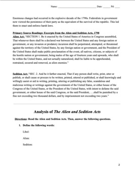 Alien & Sedition Acts Readings and Analysis