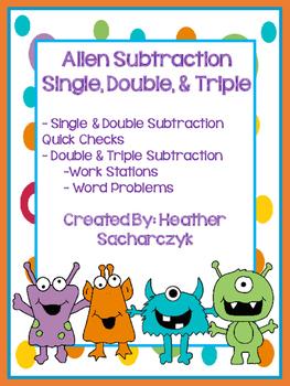 Alien Single, Double, & Triple Digit Subtraction