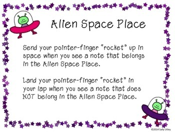 Alien Space Place - Identify Space Notes on Music Staff
