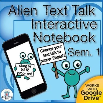 Text to English Grammar Interactive Notebook Semester 1 Bundle