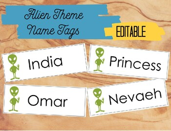 Alien Theme Name Tags - Editable