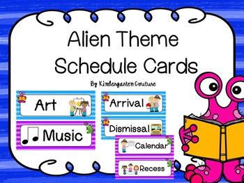 Alien Theme Schedule Cards -Editable