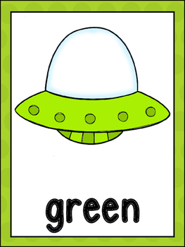 Alien/UFO Color Word Posters And Memory Game