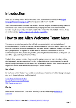 Alien Welcome Team (Mars Set) - Bellringer Word Puzzles in Black and White