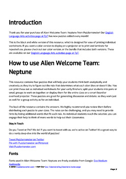 Alien Welcome Team (Neptune Set) - Bellringer Word Puzzles in Black and White