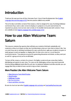 Alien Welcome Team (Saturn Set) - Bellringer Word Puzzles in Black and White