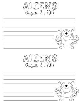 Alien Writing Craftivity