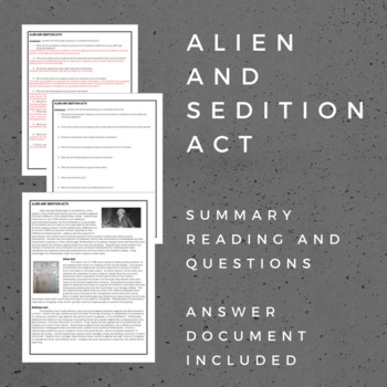 Alien and Sedition Act:  Summary Reading and Questions