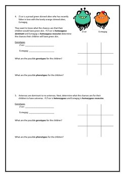 Alien genetics - punnett square worksheets