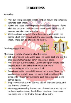 Alien (nonsense) Word Space Dock Game - Year One Phonics Screening Test