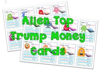 Alien top trump Money cards