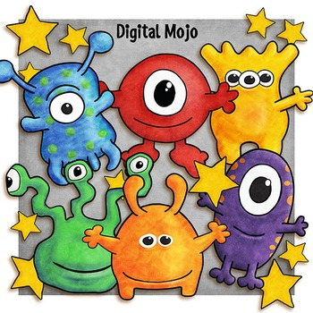 Aliens Clipart and Digital Paper