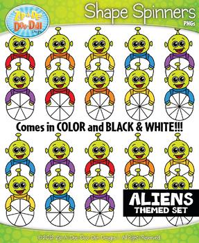 Aliens Spinner Shapes Clipart {Zip-A-Dee-Doo-Dah Designs}