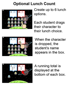 Aliens Theme Attendance for All Interactive Whiteboards and Smartboards