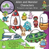 Aliens and Monsters Clip Art Characters and Border