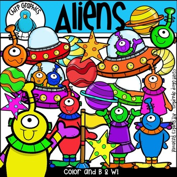 Aliens and Spaceships Outer Space Clip Art Set - Chirp Graphics