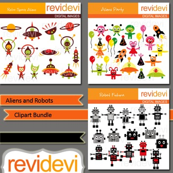 Aliens and Robots clip art bundle (3 packs)