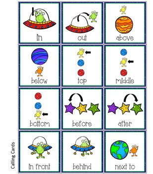 Aliens in SPACE! - Spatial Concepts Bingo Game