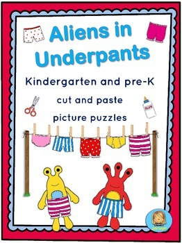 Aliens in Underpants cut and paste puzzle challenge