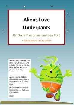 Aliens love underpants freebie literacy circle activites close reading