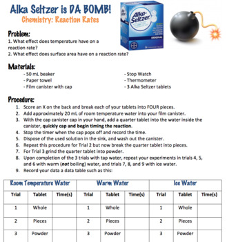 Alka Seltzer Chemical Reaction Rates Lab (Editable)