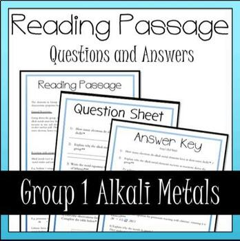 Alkali Metals Group 1 Periodic Table Reading, Questions and Answers